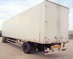 closed box semi trailer Schmitz Cargobull 1 achs City Lenk luft zwilling Portal 2003