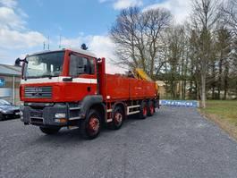 drop side truck MAN TGA 35 8x4 full steel + effer crane 210-3S very clean