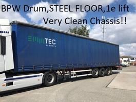 sliding curtain semi trailer Groenewegen DRO-12-27 , Liftaxle , steel floor , very clean chassis ,BPW Drumbrakes 2002