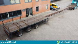 flatbed semi trailer Broshuis 3-ass. Vlakke dubbel (2x) uitschuifbare oplegger // 3x gestuurd 1998
