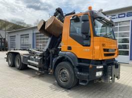container truck Iveco Trakker 450 6x4 Abrollkip Kran Palfinger M120z79 2007