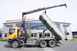 tipper truck > 7.5 t Renault Kerax 380 , E5 , 6x4 , 120k km , 2way tipper , Cran Hiab , REMOT 2012