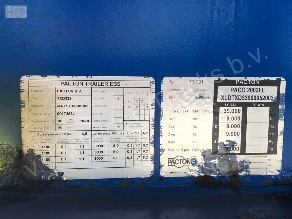 Schiebeplanenauflieger Pacton T3-001 | 1360x249x273 | 3x SAF 2005