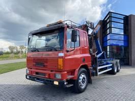 container truck DAF CF 75 Hook + HMF Crane / 6x2 / Manual 1996