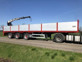 drop side semi trailer Floor Stenentrailer steenoplegger + Kennis 14tm kraan 2000