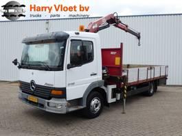 closed box truck Mercedes-Benz Atego 815 with HMF crane 2000