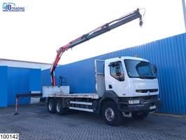 platform truck Renault Kerax 370 6x4, Manual, Fassi crane, Airco, Steel suspension, 2004