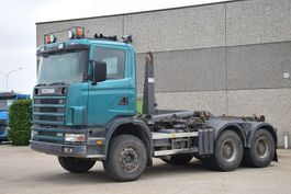 container truck Scania R124 C 400 CONTAINER SYSTEEM- CONTAINER SISTEEM- CONTAINER HAAKSYSTEEM- SYSTEME CONTENEUR 1997