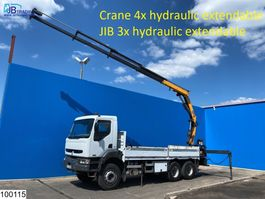 platform truck Renault Kerax 370 6x4, Compa Crane + JIB, Remote, Steel suspension 2004