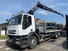 drop side truck Iveco Stralis 360 6X2 MANUAL + HIAB 166 E-4 MET REMOTE 2009