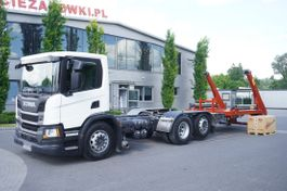 container truck Scania P410 , E6, 6x2, 60,000 KM, 6m frame, PTO, low cabin, NEW GATE 18T 2019