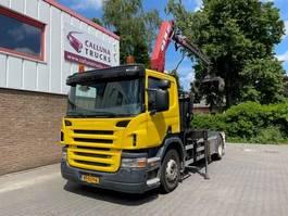container truck Scania P Hyva Hook system + HMF Crane 2007