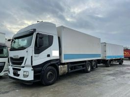 closed box truck Iveco Stralis 460E6 Lenkachse Durchlader +Anhänger 2015
