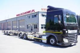 container truck DAF XF SC , E6 , 6X2 , BDF + Wecon 2 axles trailer , BDF SET 2017