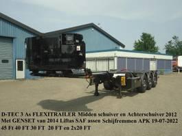 semirremolque de chasis contenedor D-Tec FLEXITRAILER Midden en Achterschuiver Liftas + GENSET van 2014 2012