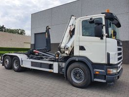 crane truck Scania R 114 6X2 CONTAINER SYSTEEM- CONTAINER SISTEEM- CONTAINER HAAKSYSTEEM- SYSTEME CONTENEUR 2004