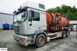 container truck MAN 26.464 6x2 hook lift w / flush / suction build on 2000
