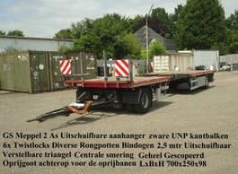 flatbed full trailer GS GS Meppel  2 As Open UItschuifbare aanhanger 2002