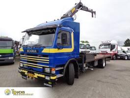 platform truck Scania 82M + Manual + Hiab Crane + Blad-Blad + adjustable deck lift + winch 1984