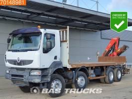 platform truck Renault Kerax 450 8X4 Manual Retarder Crane Kran Fassi F150A.22 2007