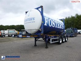 container chassis semi trailer Dennison 3-axle container trailer + beer tank container 20 ft / 28.7 m3 2014