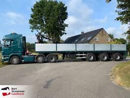 flatbed semi trailer Floor FLO-13.5-30H2 steentrailer met HIAB 130 F2 rollerkraan 2001