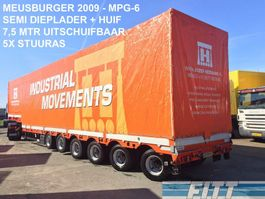 semi lowloader semi trailer Meusburger MPG-6 / 6ass semi, 5x stuuras, 7,50 mtr uitschuifbaar, huif/schuifkap - okay 2009