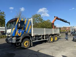 drop side truck Renault Kerax 370 6X4 MANUAL FULL STEEL RETARDER + PALFINGER PK16502 MET REMOTE 2007